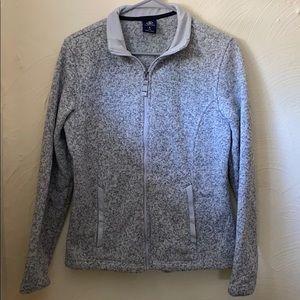 Gray quilted fleece zip up sweatshirt